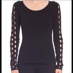 elie tahari black criss cross cashmere sweater M